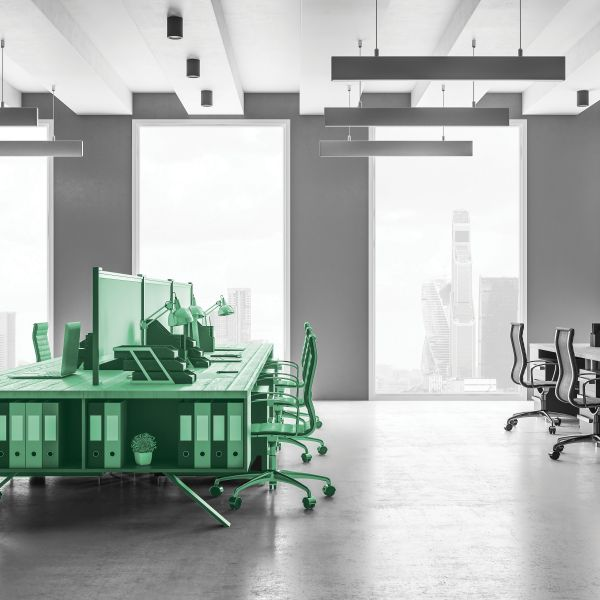 New coworking office interior with panoramic city view. Style, design and workplace concept. 3D Rendering